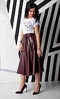 Бордовый модный женский сарафан из экокожи 42-48рр., фото 1