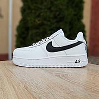 Кроссовки женские  Nike Air Force 1 низкие белые с черным, фото 1