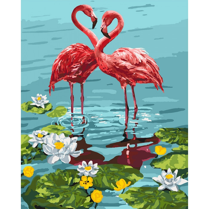 Картина по номерам.  Пара фламинго 40х50см арт. КНО4144