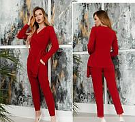 Женский красный костюм однотонный брючный 3 цвета 42 44 46