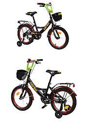 """Велосипед 16 """"CORSO"""" ручной тормоз, звоночек, сидение с ручкой, доп. колеса, в кор. 88*17*40см /1/"""