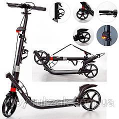 Самокат двухколёсный для взрослых и детей iTrike SR 2-015-4-B, черный.