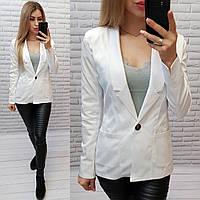 Жакет  / пиджак  женский на подкладке, модель S1098, цвет белый /белого цвета