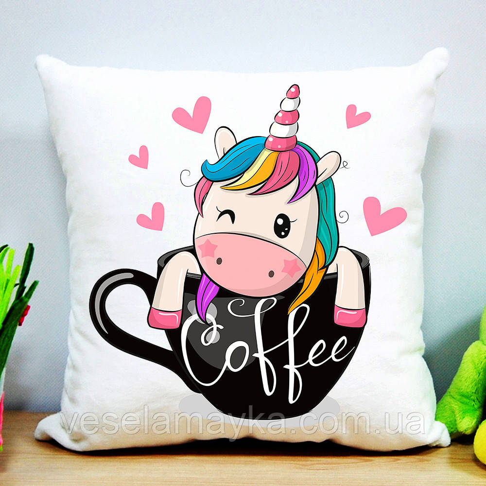 Дитяча подушка Єдиноріг і кави