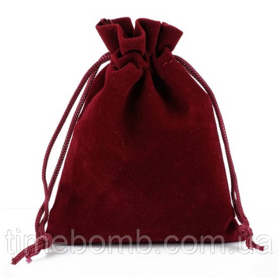 Бордовый бархатный мешочек 7 х 9 см