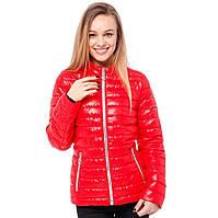 Красная женская куртка короткая (42-48) демисезон