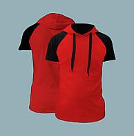 Футболка с капюшоном красная мужская, реглан рукав черный