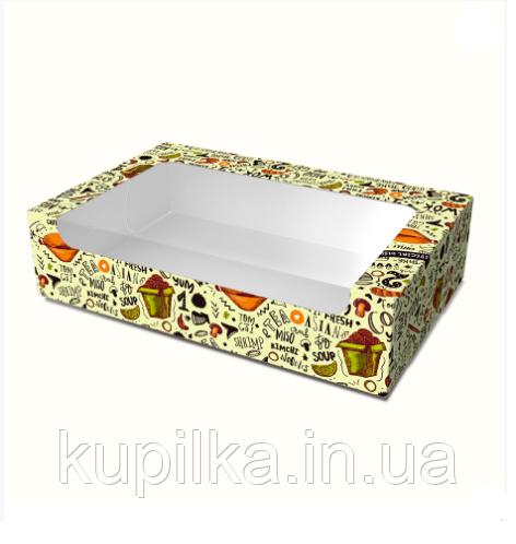 """Картонная коробка для суши """"Макси"""" светлая"""