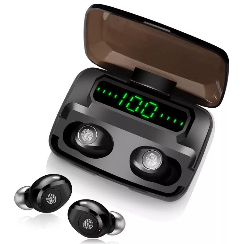 Беспроводные наушники с цифровым зарядным павербанком TWS F9 Bluetooth 5.0 Черные Power Bank