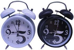 """Часы-будильник мет.""""Черно-белые"""", диам. 8,5см, 2в. //"""