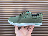 Мужские кроссовки кеды Lacoste (лакоста, демисезонные, темно зеленые)