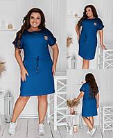 Стильне плаття з джинса з коротким рукавом з поясом шнурівка і кишенями(48-58), фото 1