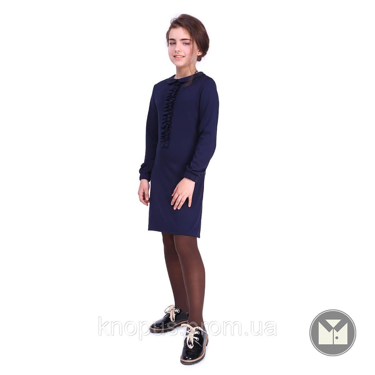Платье для девочки с длинным рукавом и рюшем,черное, Timbo, размер 122