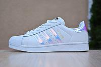 Кроссовки женские Adidas SuperStar белые с перламутром, фото 1