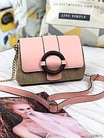 Сумочка маленькая женская розовая молодежная сумка экокожа рогожка пудра. Цена опт.