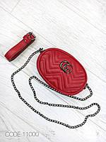 Сумка маленькая женская кросс-боди клатч на цепочке экокожа красная 11000