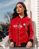 Красная куртка женская из лаковой стеганной плащевки 50,52,54,56,58,60,62, фото 1