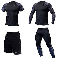 Компрессионный комплект для спорта 4в1 Nike чёрный( рашгард + футболка + леггинсы + шорты)