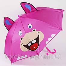 Зонт-трость детский с ушками  905-7 (0301). Длина 61 см, диаметр 79 см. Полуавтомат