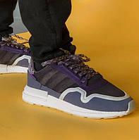 Мужские кроссовки Adidas Commonwealth ZX 500 RM (white / orchid tint). Живое фото (Реплика ААА+)