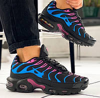 Женские кроссовки Nike Air Max Tn+ plus Black Blue Pink. Живое фото. Реплика