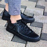 Мужские кеды классические кожаные черные. Живое фото. Турция