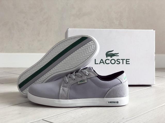 Мужские кроссовки, кеди Lacoste, демисезонные, светло серые