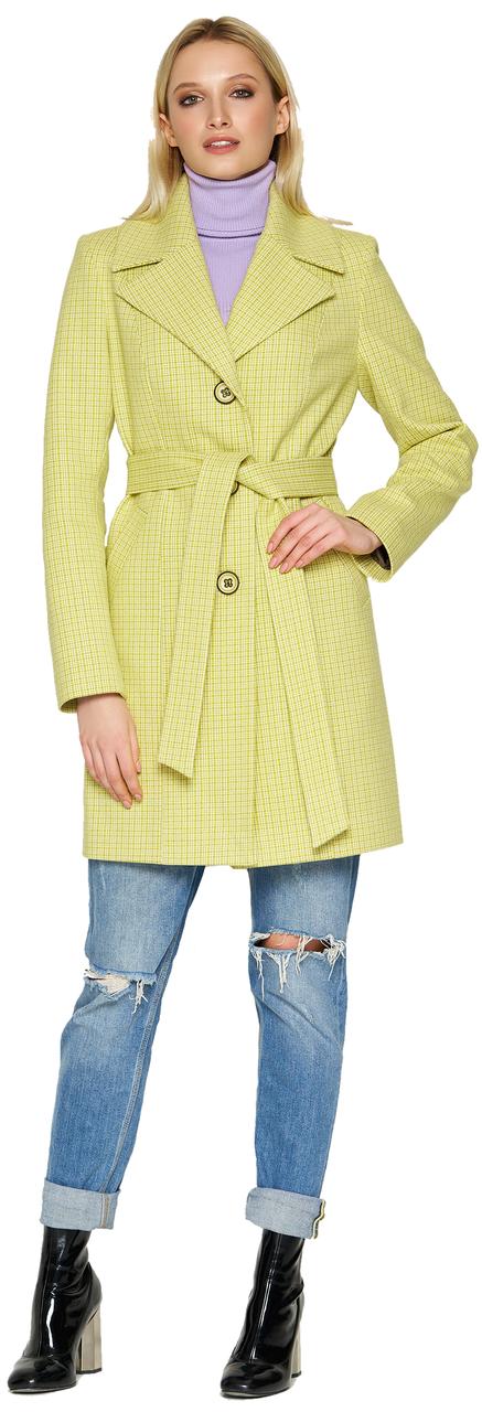 Женское демисезонное пальто NIO Collection Влада Лимонный, кашемировое пальто в клетку