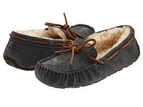 Женские зимние мокасины угги UGG Dakota Slipper Grey с мехом (Топ реплика ААА+)