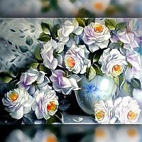 Алмазная мозаика Белые Розы 40x50 TWD10013L The Wortex Diamonds Полная зашивка Цветы, фрукты, натюрморты