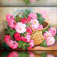 Алмазная мозаика Цветы в корзине 40x50 TWD10020L The Wortex Diamonds Полная зашивка Цветы, фрукты, натюрморты