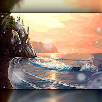Алмазная мозаика Утёс у моря 40x50 TWD30011L The Wortex Diamonds Полная зашивка Морские