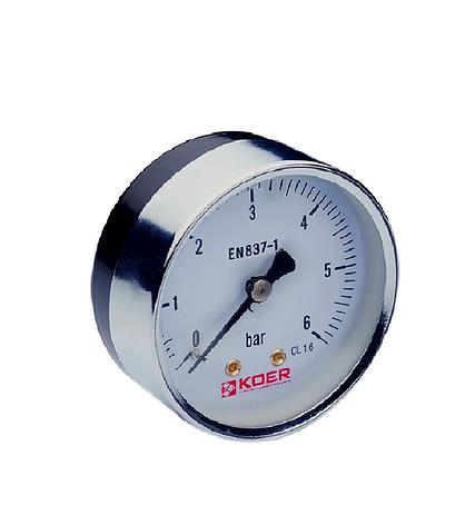 Манометр аксиальный KOER KM.611A 0-6 бар D=63мм, 1/4'', фото 2