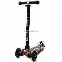 Самокат трехколесный детский Best Scooter разноцветный пластик, 4 колеса PU, свет d=12см (113-95765), фото 3
