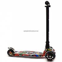 Самокат триколісний Best Scooter різнобарвний пластик, 4 колеса PU, світло d=12см (113-95765), фото 5