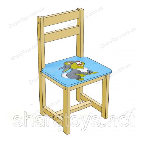 """Детский стул с рисунком """"Зайчик"""" голубой цвет"""
