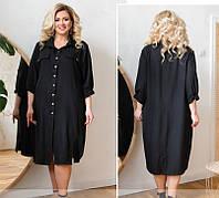 Свободное платье-рубашка большого размера,синее 50-52,54-56,58-60,62-64