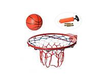 Баскетбольное кольцо металлическое с мячом M 5967