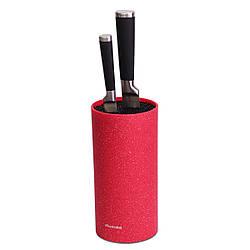 Подставка для ножей с наполнителем Kamille (высота 22 см, диаметр 11 см) красный мрамор