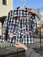 """Рубашка для мальчика """"Retro Blue"""", 86-92 см (1-2 года), стильная и легкая в ретро стиле., фото 1"""