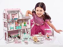 """Кукольный домик NestWood """"МИНИ ДАЧА"""" для кукол LOL (ЛОЛ), 5 комнат (этаж 15см)+ Мебель 9 ед."""