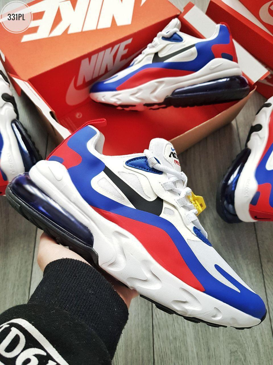 Мужские кроссовки Nike Air Max 270 React White/Blue/Red