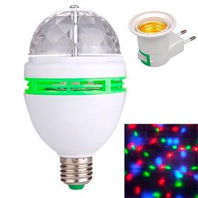 Диско лампа вращающаяся светодиодная, E27 LED RGB 3Вт + сетевой адаптер