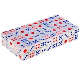 Кости игральные, кубики 100шт, пластик 1.2см