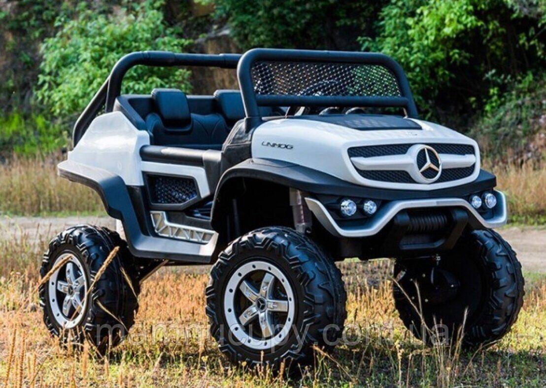 Детский двухместный электромобиль Багги Mercedes-Benz UNIMOG 4х4 white