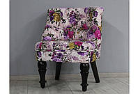 Кресло Прованс микрофибра фиолетовые цветы ножки венге