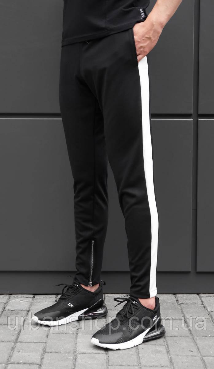 Спортивные штаны bezet zipp black white'18 - S