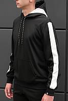 Спортивная кофта BEZET zipp black white'18 - XL