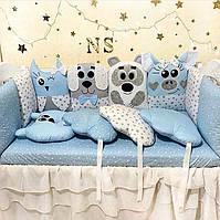 PREMIUM Бортики в кроватку для новорожденного, детское постельное белье для мальчика