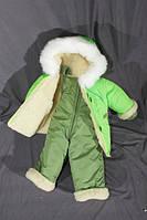 """Детский зимний комбинезон """"Малыш"""" (Сплошной мех) однотонный Зеленый"""